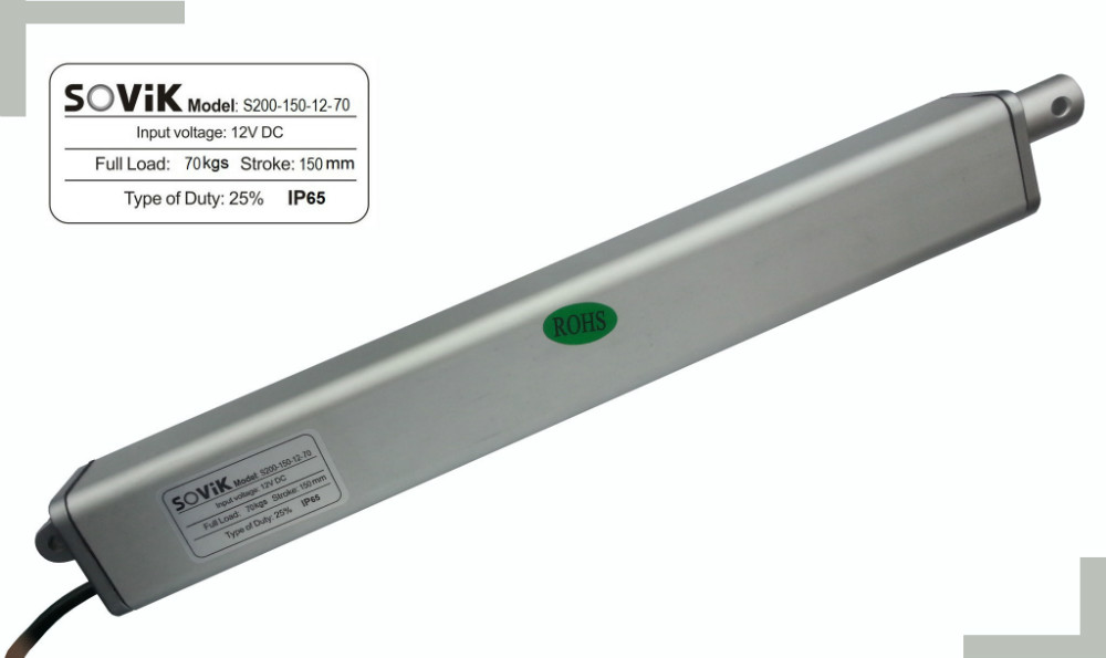 SOViK 150mm 6 inch Stroke Electric Linear Actuator 12V 24V DC Heavy Duty 700N Max Lift Speed 15mm/s Include Mounting BracketsSOViK 150mm 6 inch Stroke Electric Linear Actuator 12V 24V DC Heavy Duty 700N Max Lift Speed 15mm/s Include Mounting Brackets