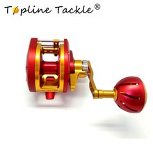 цена на Topline Tackle 2018  slow jigging reel boat 50kg right handle Saltwater Trolling Drum Reels sea Fishing Baitcasting reel