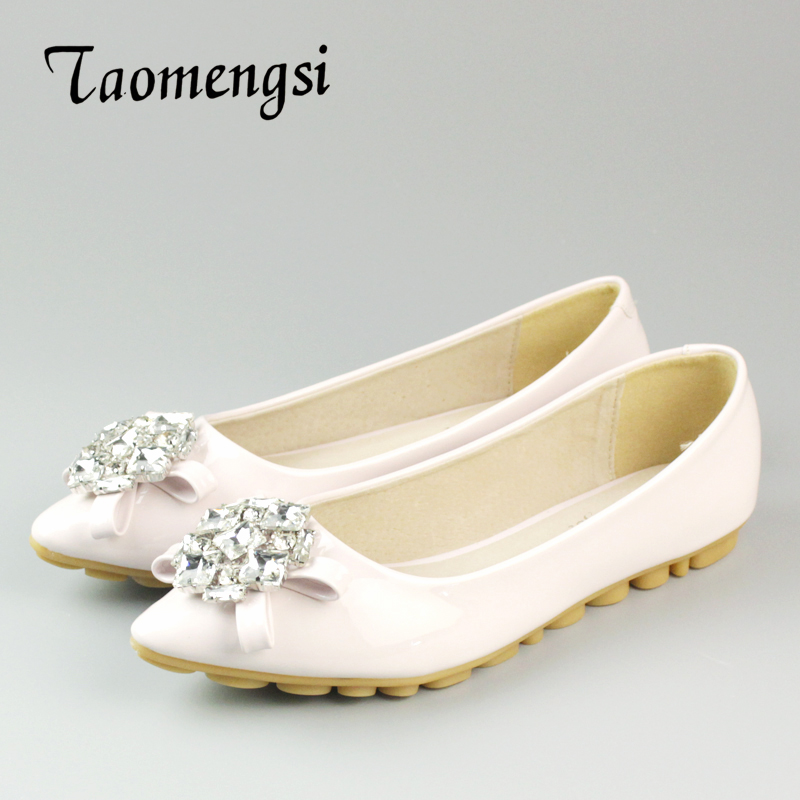 Summer Woman Crystal Flats Shoes Pointed Toe PU Boat Shoes Women Sweet Elegant Girls Shoe Big Size 34-43 new 2017 spring summer women shoes pointed toe high quality brand fashion womens flats ladies plus size 41 sweet flock t179