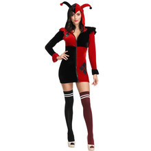 цены Amazing Harley Quinn Costume Cosplay Adult Women Fantasia Clown Performance Uniform Funny Circus Dress Halloween Outfit Z4278