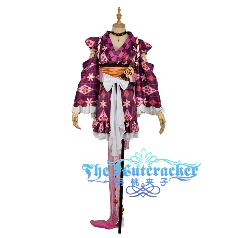 W1032 Ohara Mari Yutaka Awakening Cosplay Costume Custom Made Skirt with Sashes LoveLive!SunShine!! Aqours Printed Kimono Dress