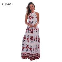 ELSVIOS Women Summer Floor Length Dress 2017 New Beach Printed Ladies Sexy Party Dress Elegant Sleeveless