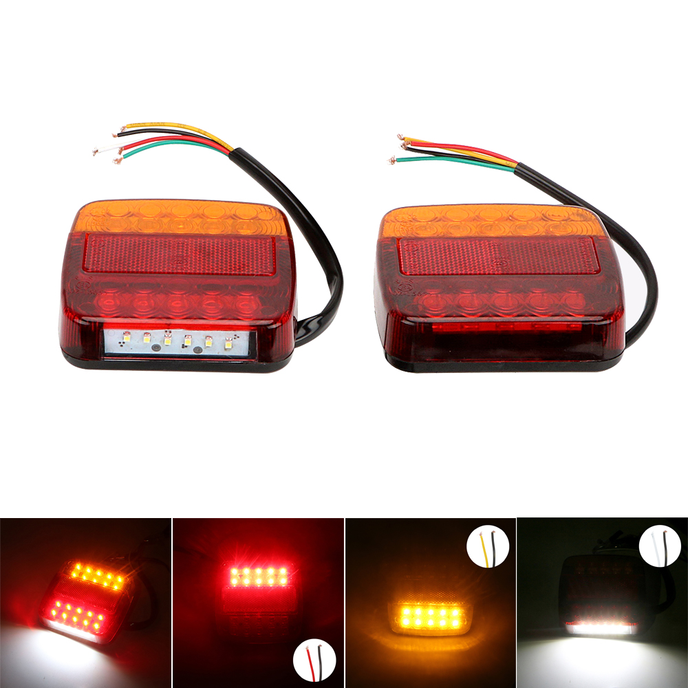 2PCS Truck Rear Side Lights 12V 24V Tail Car Brake Lamps Turn Signal Lights Indicators Trialer Lorry Warning Lamps Car-styling car styling tail lights for toyota highlander 2015 led tail lamp rear trunk lamp cover drl signal brake reverse