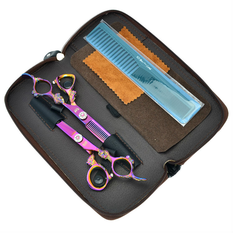 6.0 High Quality Kasho Scissors Set Salon Cutting Thinning Hair Shears Barber Styling Tools Hairdressing, LZS0328 high quality pu leather barber hair scissors bag case salon hairdressing holster pouch case hair styling tools