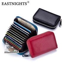 EASTNIGHTS Genuine Leather Business Card Holder Women Slim Rfid Case Men Credit Cards Wallet TW2721