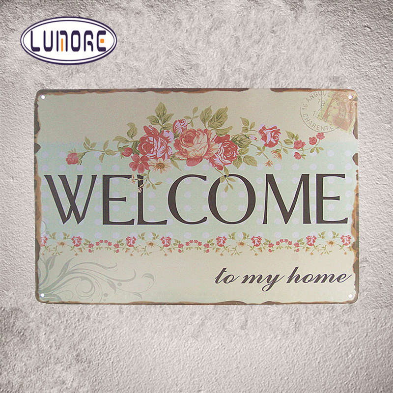 WELCOME to My Home Sign PUB Wall Plaque Art Painting Bar Craft Decor Mix order 20*30 CM J90