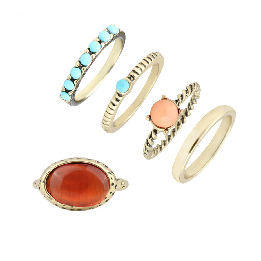 5pcs Boho Rings Sets For Women Ethnic Jewelry Antique Bronze Plated Blue Seed Beaded Big Oval Opal Stone Charm Midi Ring