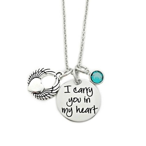 I Carry You In My Heart Necklace Engraved Jewelry Miscarriage Remembrance Pregnancy Loss(China)