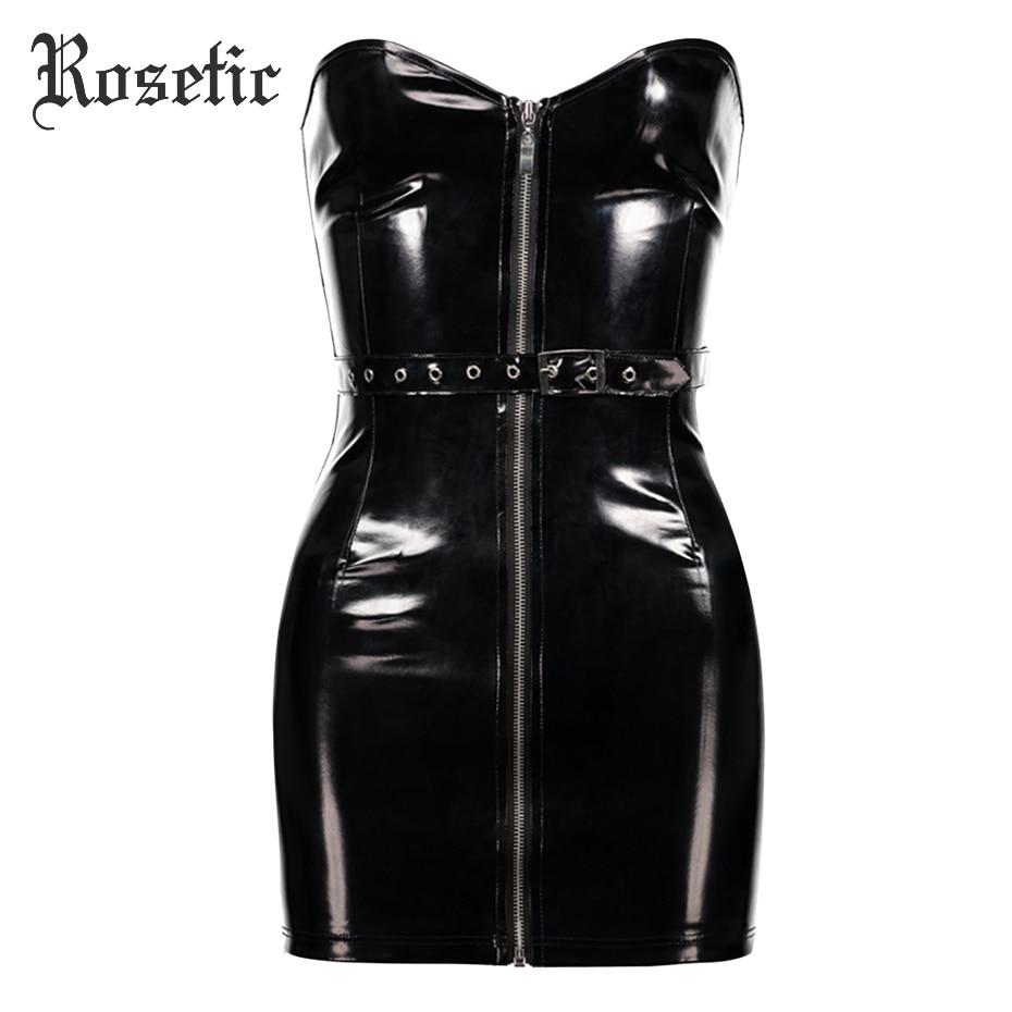 4037588fe1c Rosetic Gothic Bodycon Dress Women Black PU Mini Strapless Christmas  Backles Dress Sexy Fashion Moto Club Party Wild Goth Dress