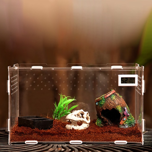 Terrarium Vivarium Kit With Magnet Latch Water Bowl Substrate