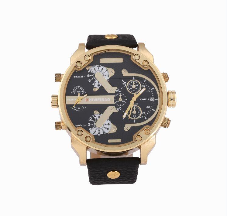 Prix pour Shiweibao Montres Mâle Quartz-Montre Casual Bracelet En Cuir Montre-Bracelet Militaire Hommes Montres Marque relojes hombre 3137