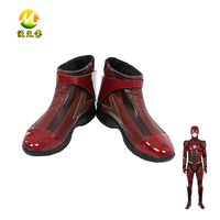 Justice League The Flash Boots Male Female Accessories Halloween Carnival Cosplay Shoes For Unisex Red Color