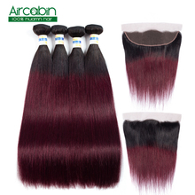 1B 99J Straight Hair Bundles With Frontal Human Hair Extensions 3 or4 Brazilian Hair Bundles With Lace Frontal Closure Non Remy