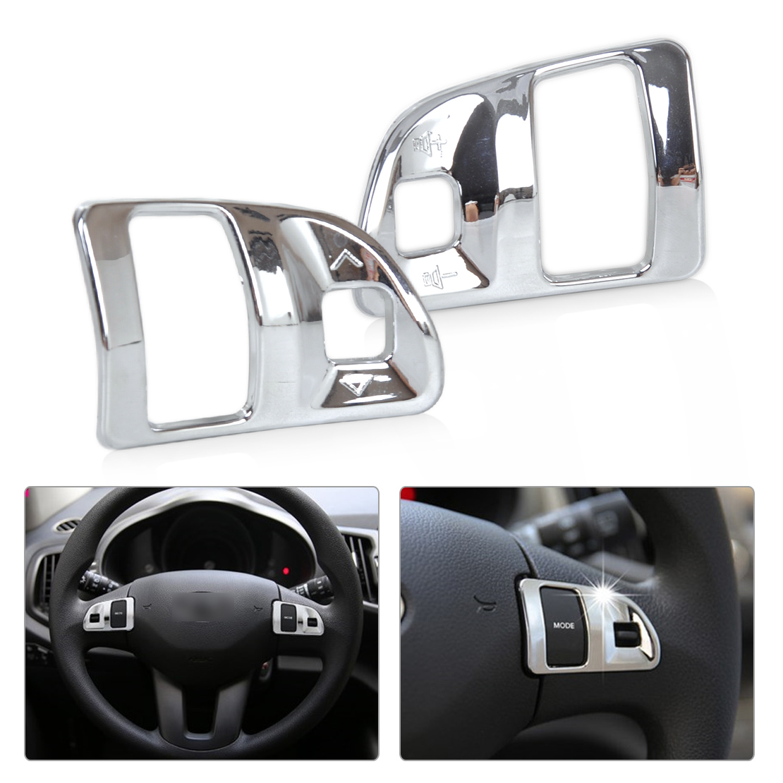 beler 2pcs Silver ABS Chrome Steering Wheel Molding Cover Trim for Kia Sportage R 2011 2012 2013 2014 2015