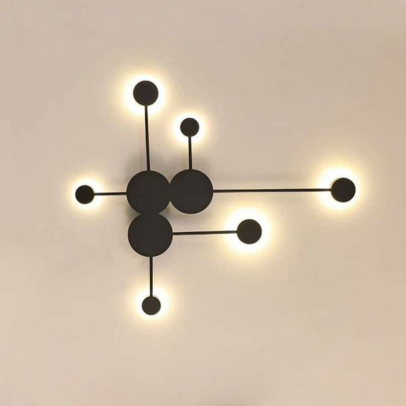 Modern Creative LED Wall Lamp White/Black/Gold Iron Decoration Wall Lights For Living Room Bedroom Bedside Acrylic Wall lamps creative waterproof flowers pattern wall stickers for living room bedroom decoration