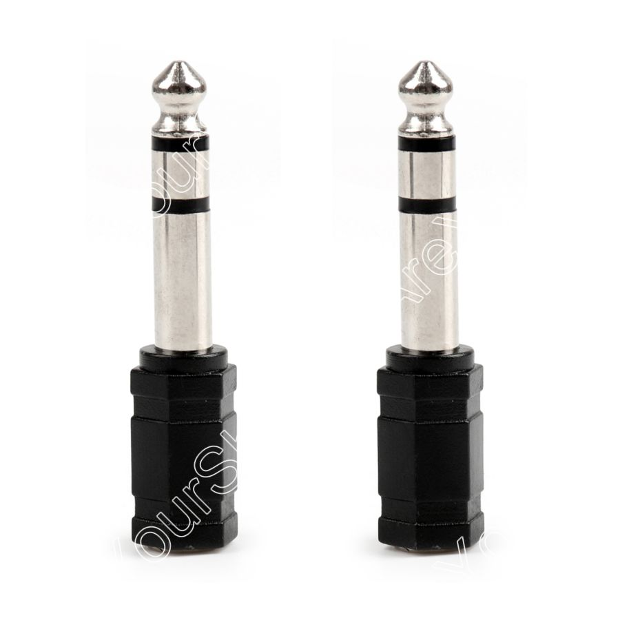 Areyourshop Sale 100Pcs 6.35mm Male Plug to 3.5mm 1/8 Female Jack Stereo Audio Adapter Connector