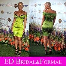 Amber Rose Kleid zu. Jährliche Maxim Hot 100 Party Roter Teppich Sexy Schulterfrei Kurz Grün Celebrity Cocktailkleid