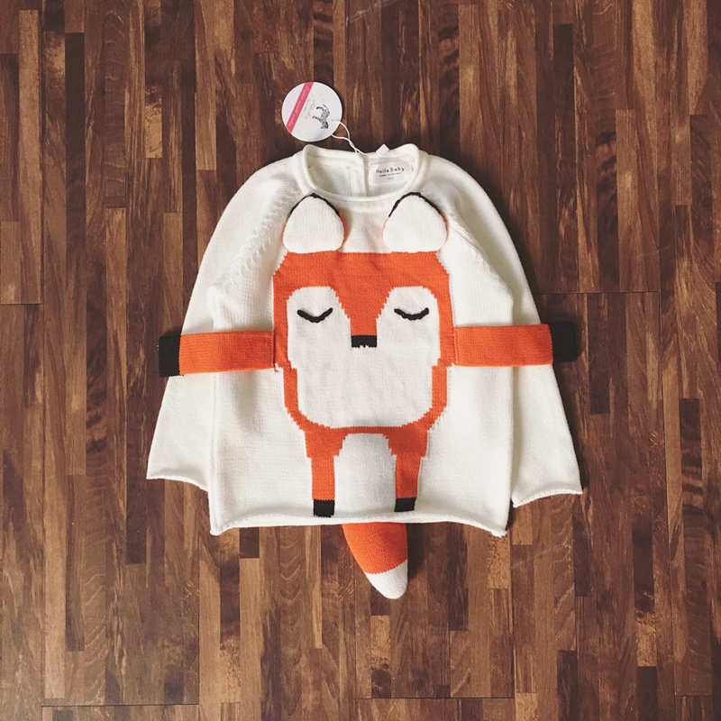 Novelty Kids 3D Fox Sweater Cute Winter Knit Tops For Children Unisex Christmas Gift Baby Boys Girls Clothes Pullovers