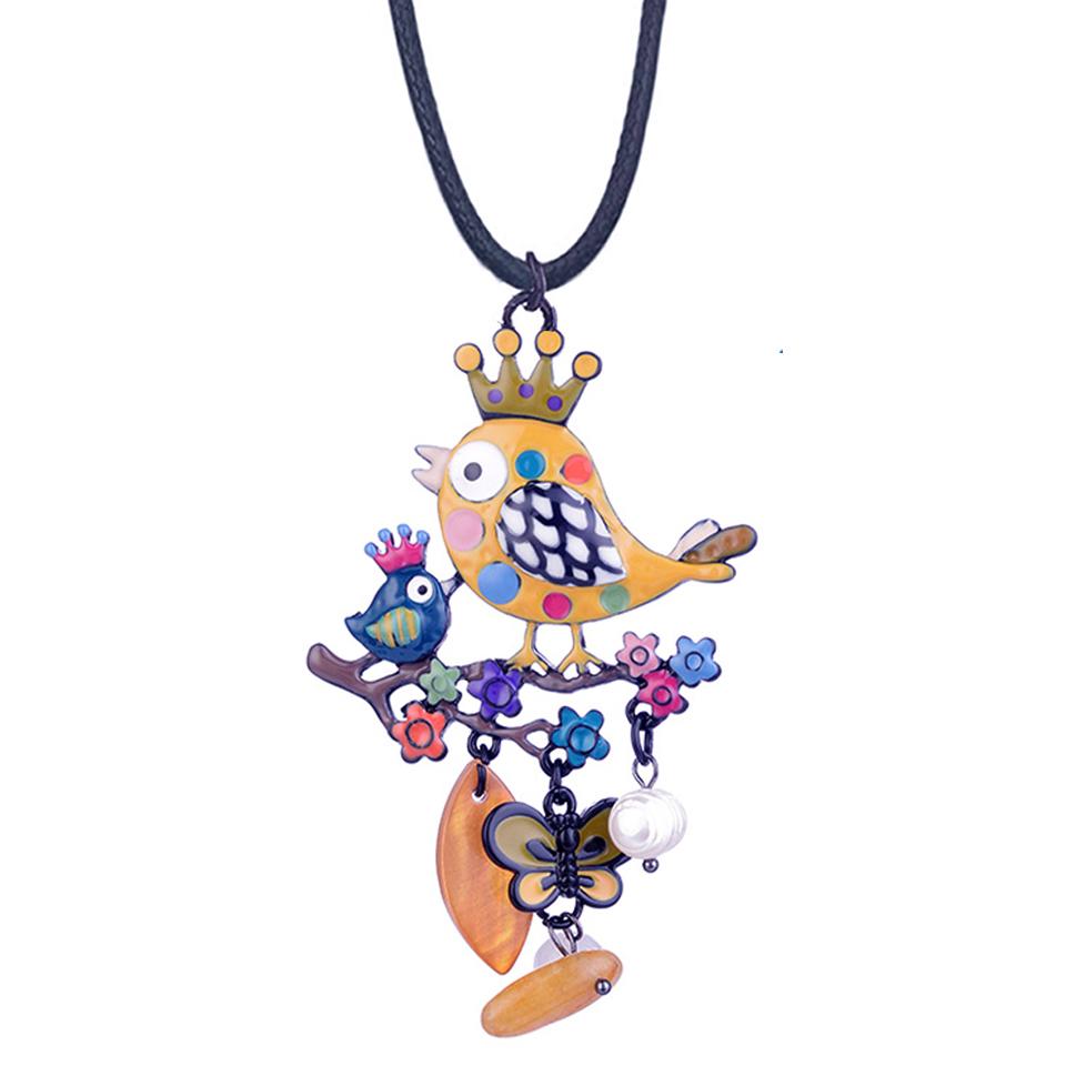 D Rui Jewelry Yellow Enamel Bird with Crown Pendants Necklaces Cute Cartoon Butterfly Rope Chain Statement Necklace for Women in Pendant Necklaces from Jewelry Accessories