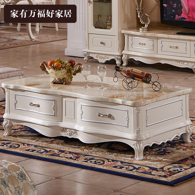 Superb European Style Coffee Table Solid Wood Carving Marble Hall Minimalist TV  Cabinet Combination Of French