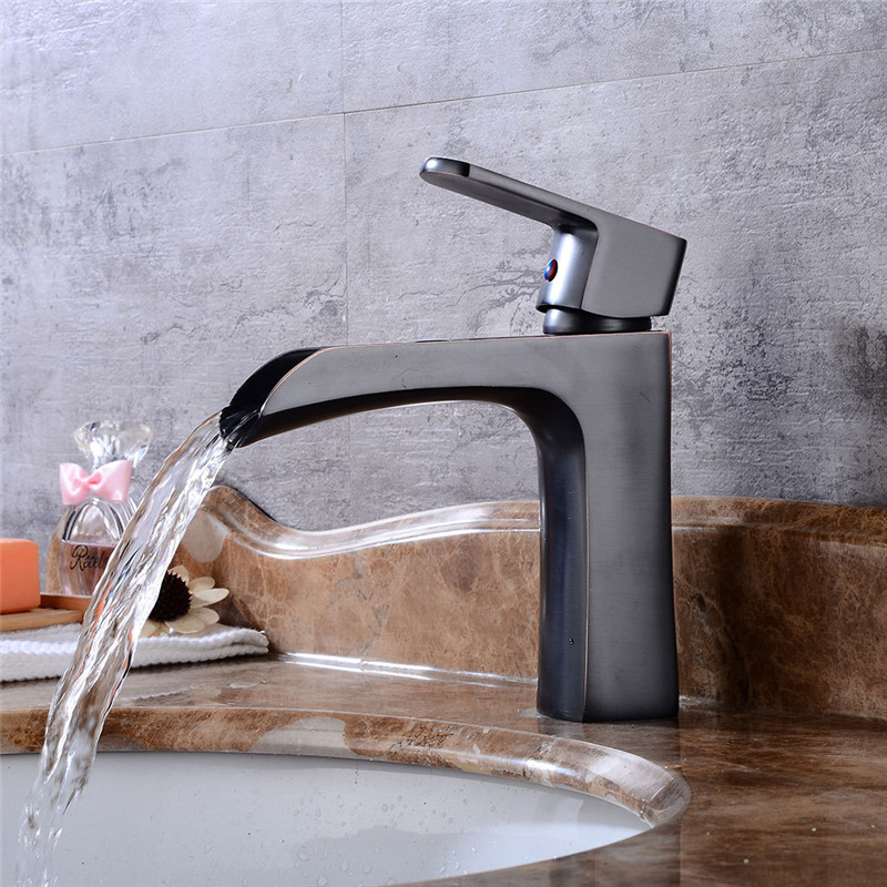 Bathroom Basin Faucet Waterfall Sink Faucet Black Oil Brushed Brass Hot Cold Basin Crane Tap Sink Mixer Tap Washbasin Torneira
