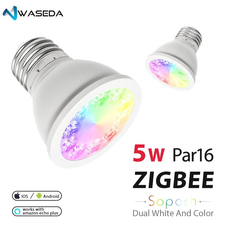 WASEDA SOPOSH rgb et double blanc 5 w E27 PAR16 ampoule RGBW/CW 2700-6500 k LED AC100-240V zigbee zll travail avec alexa puls led