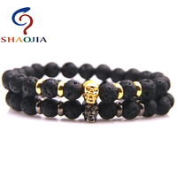 SHAOJIA 2017 New Fashion Women Bracelet Skeleton 8mm Natural Lava Stone Charm Bracelets Women Beaded Bracelet Vintage Jewelry