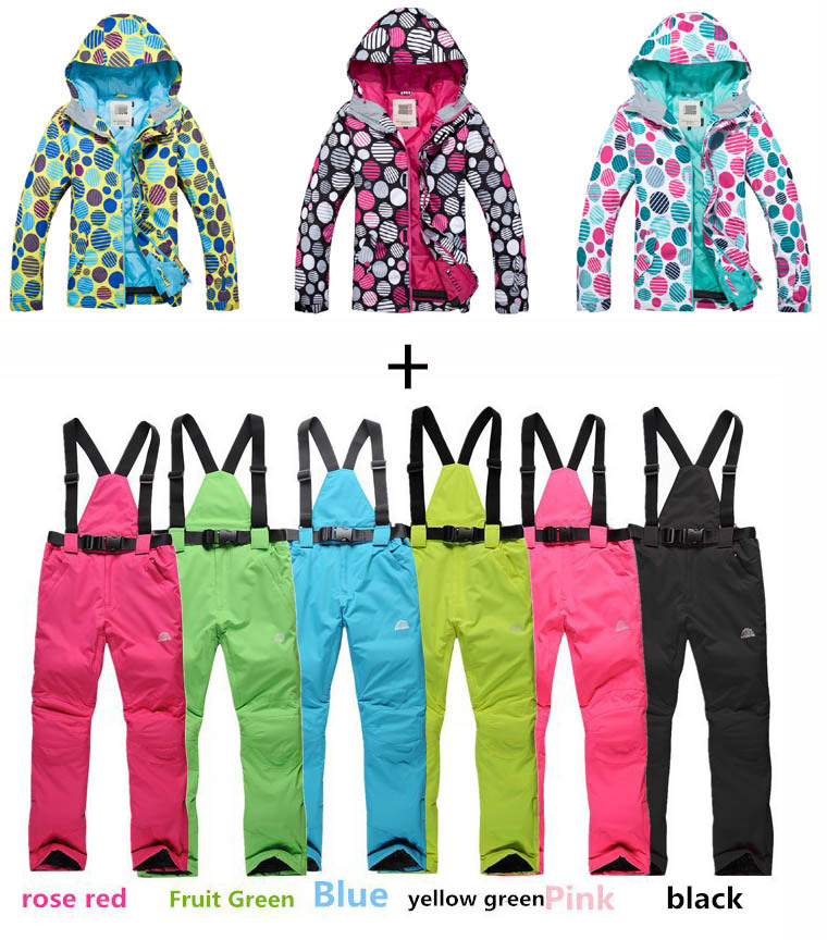 Women Skiing Bib Pants+Colorful Dot Jackets Suit Sets Winter Waterproof Sport Snow cotton dresses Girl Snowboard clothes