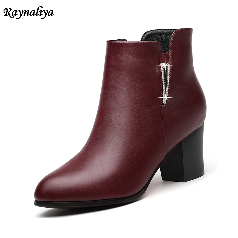 Women Autumn Winter Hot Sale Ankle Boots Female Pointed Toe Shoes Woman Fashion Thick Heels Genuine Leather Boots LSN-A0026 winter boots women ankle boots for women genuine leather boots chelsea boots fashion short low heel shoes woman hot sale