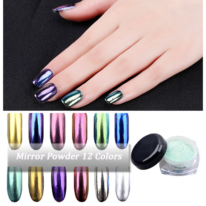 Ny 2g / boks Shinning Magic Spejl Pulver Ultrafine Aluminium Chrome Pigment Nail Glitters Sequins DIY Nail Decoration Tools