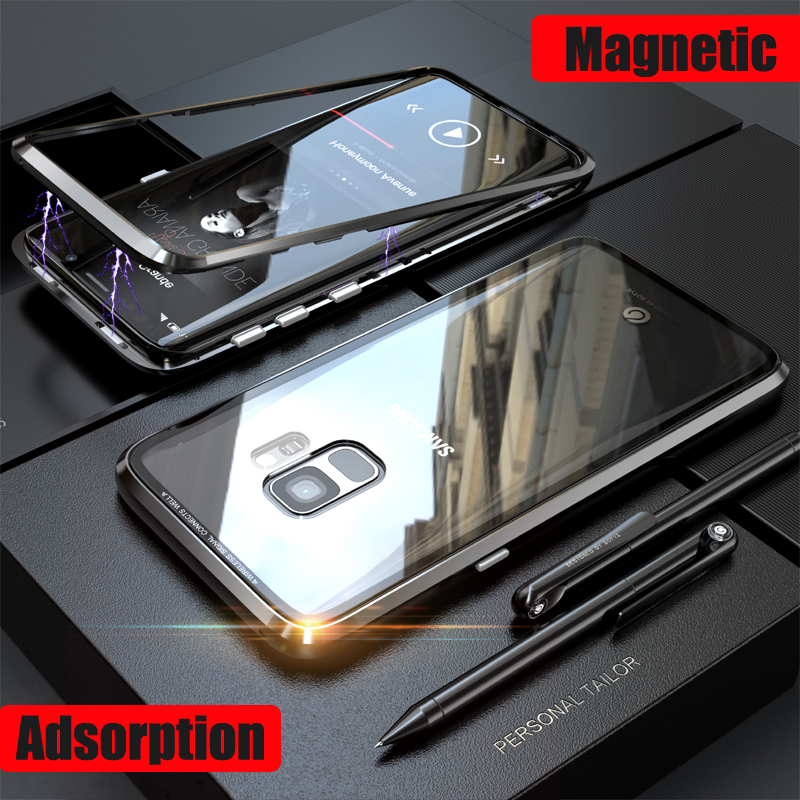Magnetic Adsorption Metal Case For Samsung Galaxy S9 Plus + Transparent Glass Cover Magnets Frame Armor For Samsung S9Plus Case