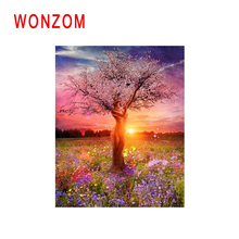 WONZOM Sunset Grassland Diy Painting By Number Girl Tree Oil Cuadros Decoracion Acrylic Paint On Canvas Modern Wall Art
