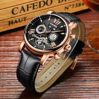 KINYUED Relogio Masculino Perpetual Calendar Tourbillon Mechanical Watch Men Rose Gold Leather Self-Wind Automatic Mens Watches - DISCOUNT ITEM  29% OFF All Category