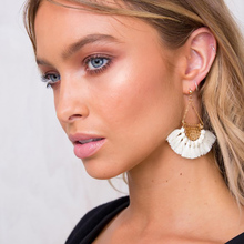 Fan shaped Cotton Tassels Bohemia Earrings For Women Ethnic Jewelry Big Dangle Earrings Handmade Fringe Pendientes