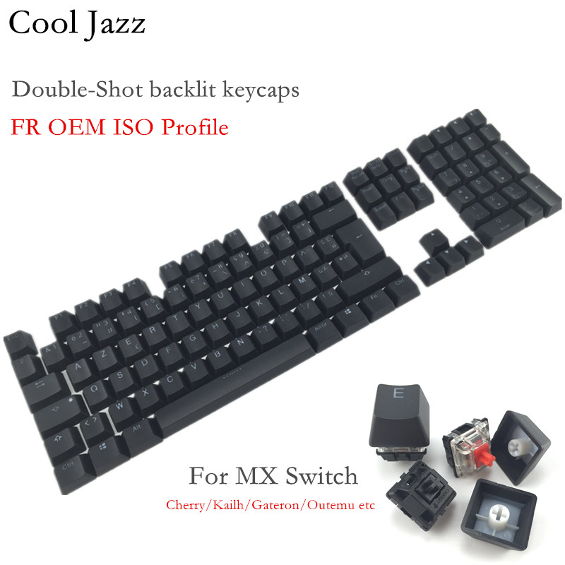 Cool Jazz 108 Keys Thick PBT Double-shot Backlit Keycap  FR ISO Layout OEM Profile For MX Mechanical Gaming Keyboard
