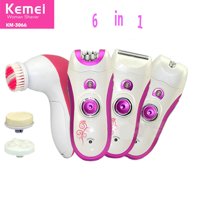 Kemei 6 In 1 Rechargeable Electric Wash Face Machine Facial Pore Cleaner Body Cleaning Face Armpit Bikini Legs Hair Remover cleanser south korea pobling electric wash face brush machine facial pore cleaner body cleaning skin massager beauty tool