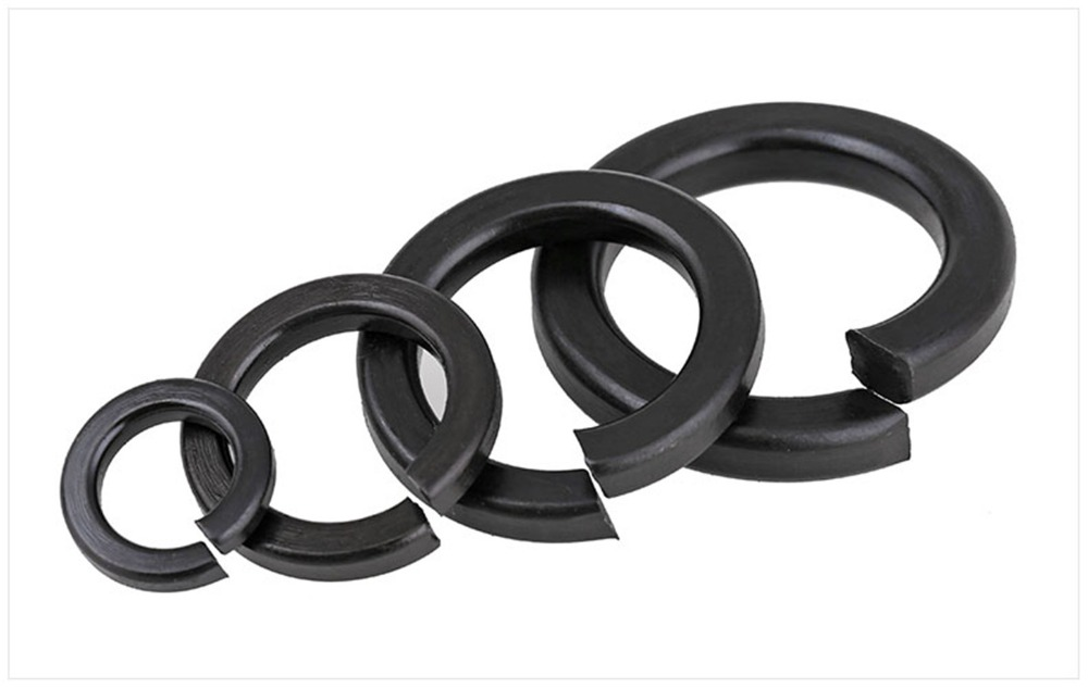 100pcs M2 M2 5 M3 M4 M5 M6 M8 Black Carbon Steel Spring Washer Split Locking Washers in Washers from Home Improvement