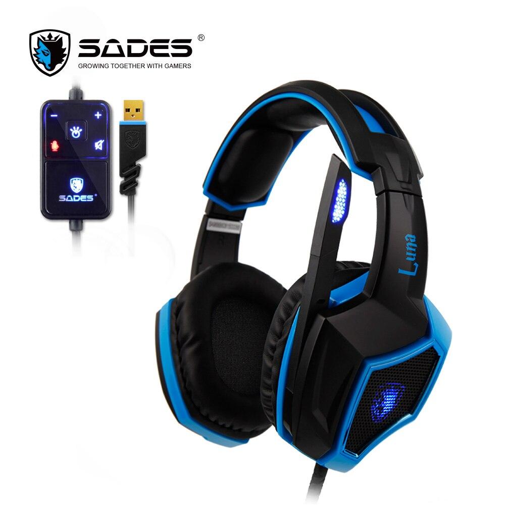 SADES LUNA Virtual 7 1 Surround Sound Gaming Headset USB Headphones In line Remote Gamer