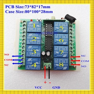 Image 2 - 12 V 8 CH ערוץ RF אלחוטי שלט רחוק מתג מערכת מקלט משדר שלט רחוק 315/433 8CH ממסר NC NO COM