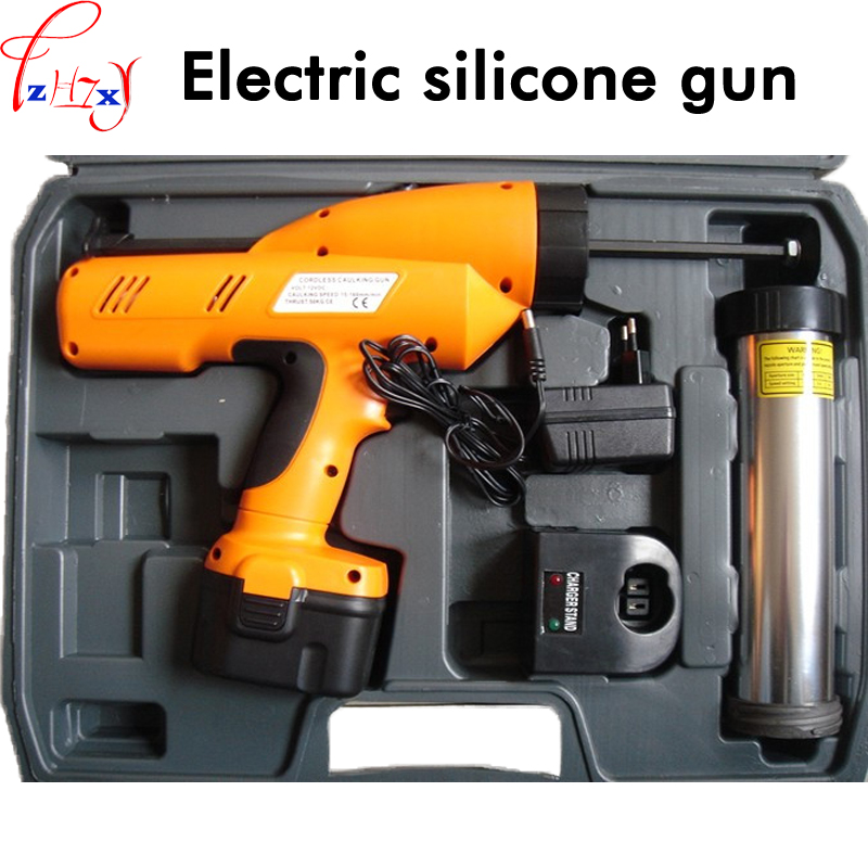 1PC 12V Rechargeable battery Hand held electric silicone gun 300ml glass filled with silicone gun cordless caulking gun