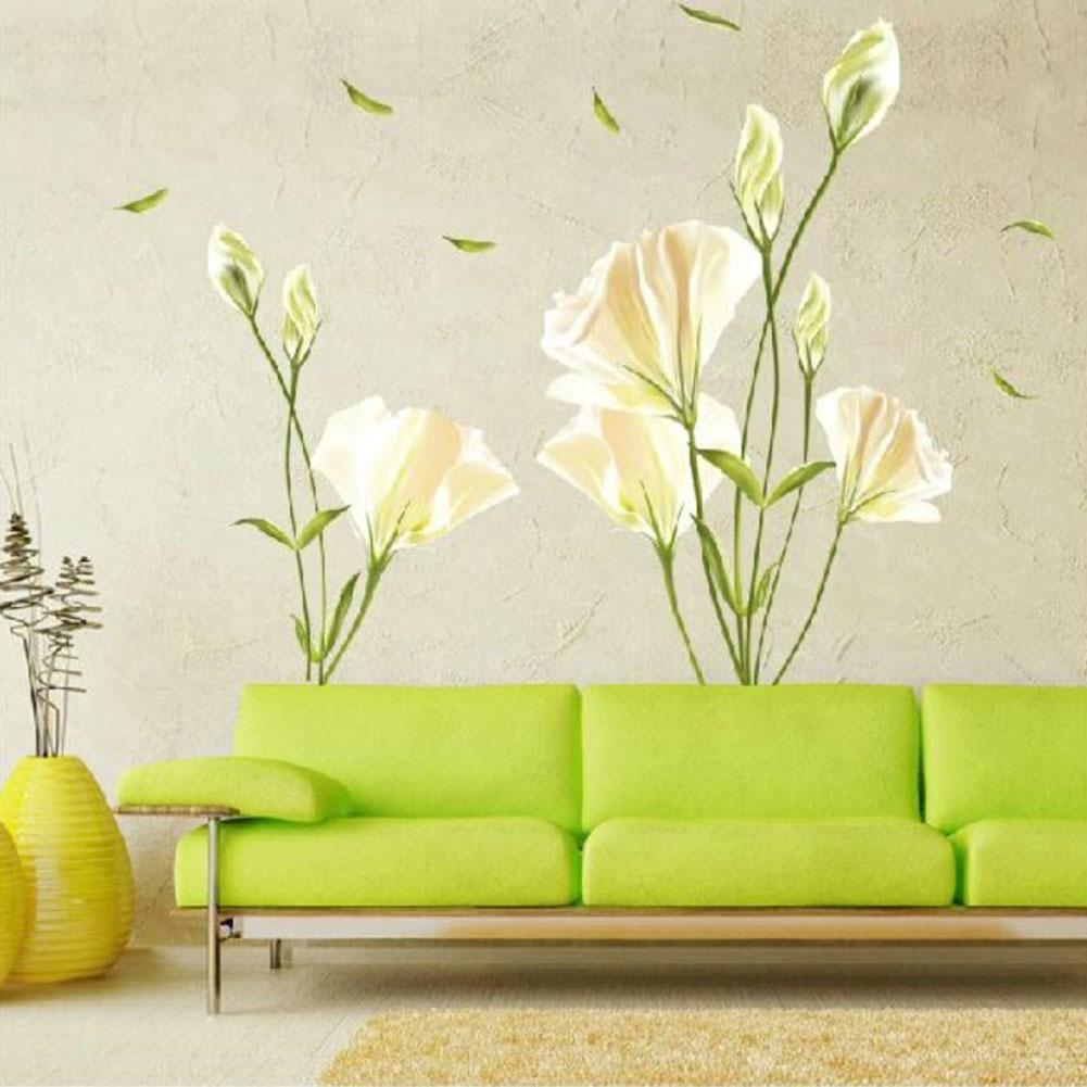Vinyl wall decal stickers lily flowers mural bedroom decor for Decor mural a tapisser