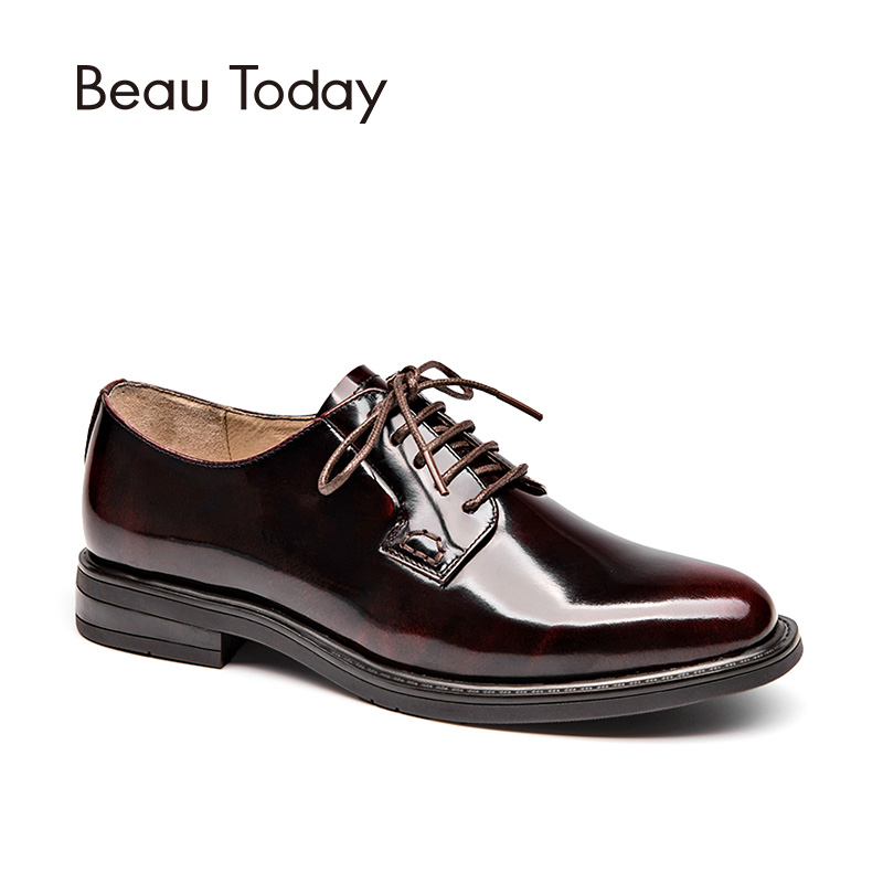 BeauToday Derby Shoes Women Genuine Cow Leather Round Toe Lace-Up Patent Leather Fashion Lady Flats Handmade 21088 beautoday oxford shoes women fashion lace up round toe brogue style waxing genuine cow leather ladies flats 21085
