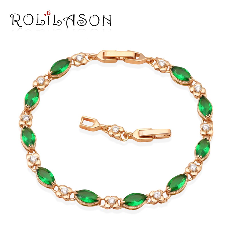 ROLILASON Green Crystal font b b font AAA Cubic zirconia yellow Gold Plated font b Bracelets