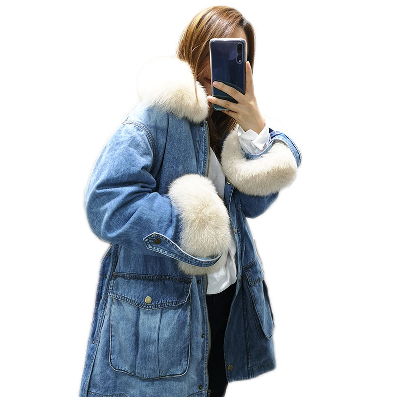 WSYORE Parka Women 2018 New Winter White Fox Fur Collar   Down   Jacket Thick Winter Women Denim Jacket Duck   Down     Coat   Jacket NS789