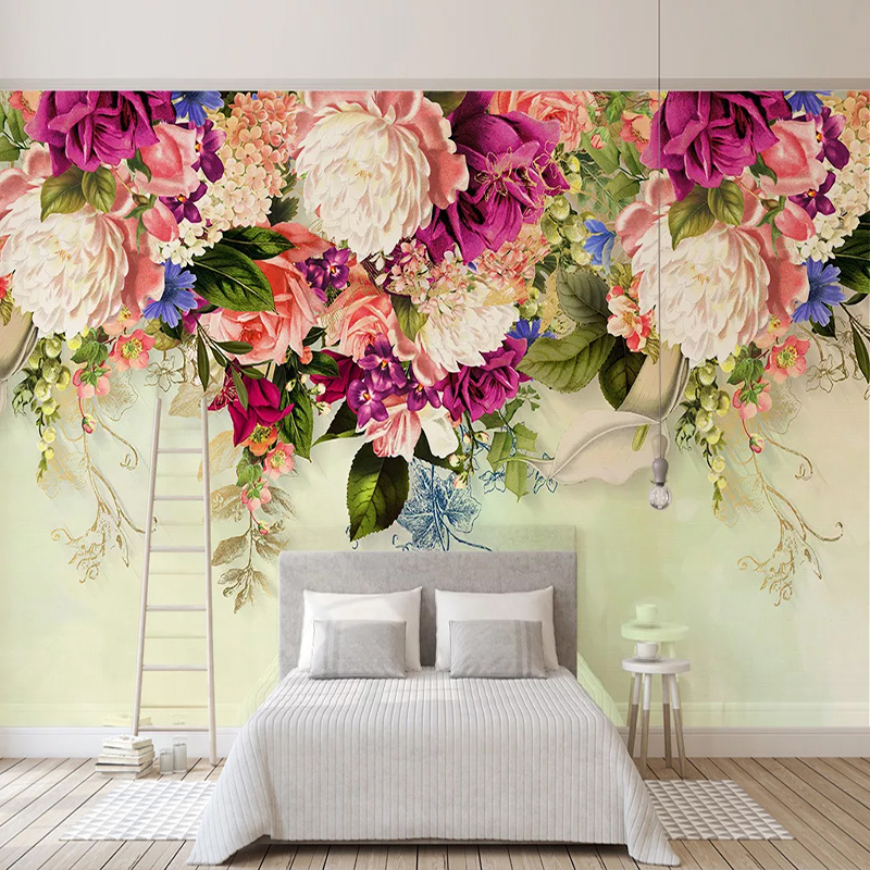 Custom 3D Photo Wallpaper Modern Retro Floral Flowers Mural Wall Decals Living Room Sofa Bedroom Background Decoration Painting