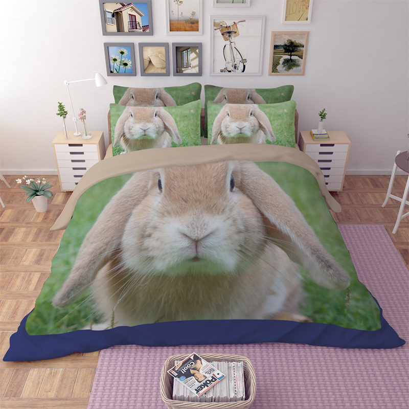Hot Sale 3d Cute Hare Coney Rabbit Animal Design Twin