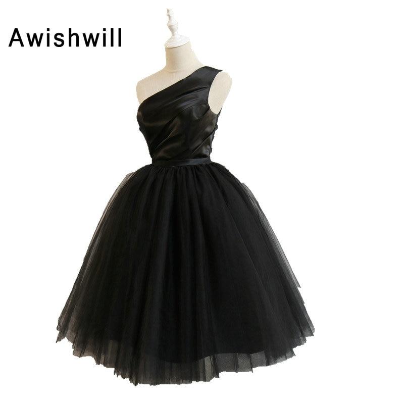 Sexy petite robe noire une épaule à lacets dos robe de bal robes de Cocktail courte Mini robe de Formatura