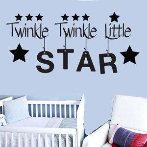 Image 1 - Индивидуальная виниловая настенная аппликация с изображением маленькой звезды для мальчиков и девочек, детская спальня, детская комната, настенная наклейка, обои 57