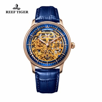 Reef Tiger/RT Designer Skeleton Watch Automatic Blue Calfskin Leather Rose Gold Watches For Men RGA1975