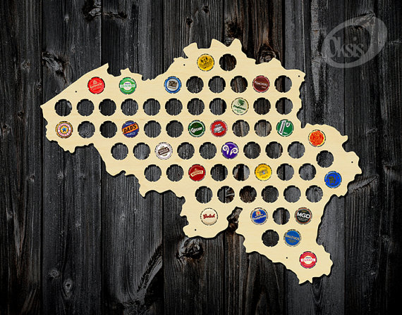 Belgium Beer Cap Map, Birch Plywood, Bottle Cap Holder, beer gift, Beer